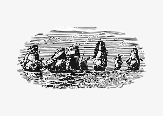 海でのセーリング船