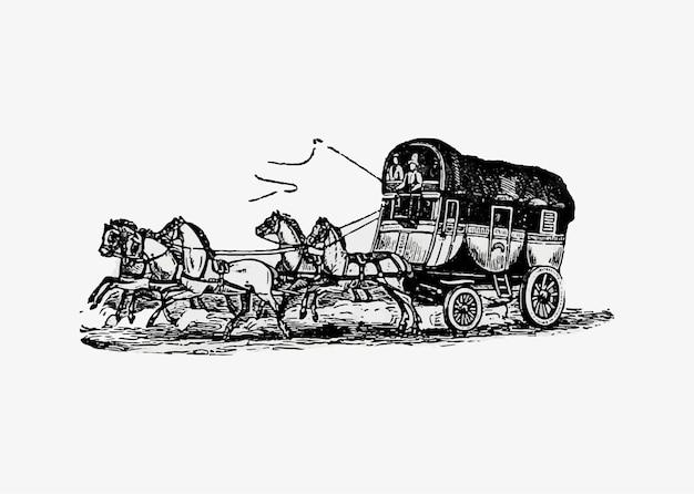 Конный экипаж старинный рисунок