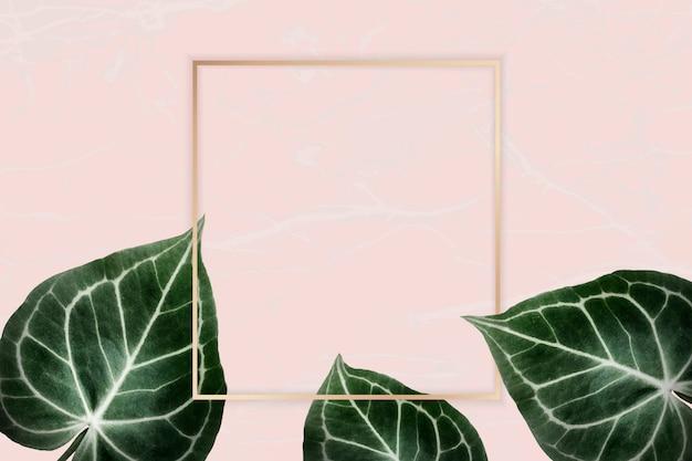 ピンクのバッジに緑の葉
