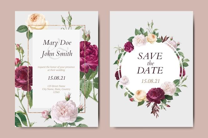 花の結婚式の招待カードベクトルを設定