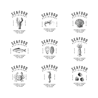 Набор векторов дизайна логотипа морепродуктов