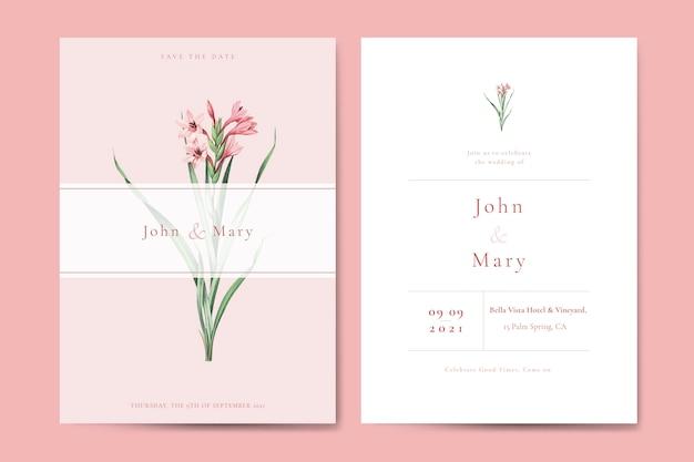 花の結婚式の招待カードテンプレートベクトル