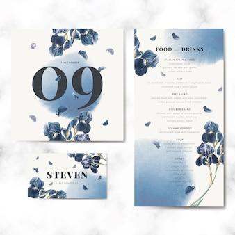 花の結婚式の招待カードテンプレートセットベクトル