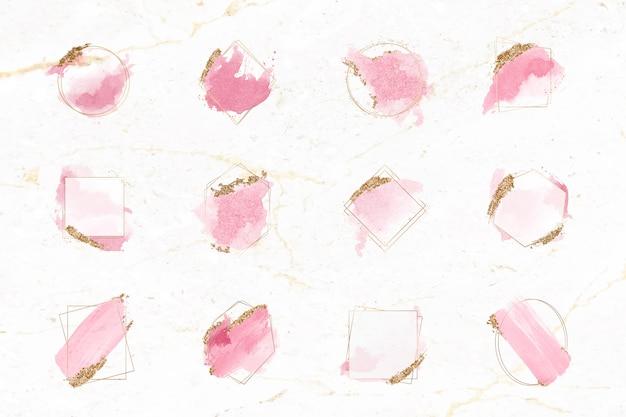 ピンクとゴールドのブラシフレームセット