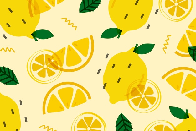 Лимонный фрукт в стиле мемфис