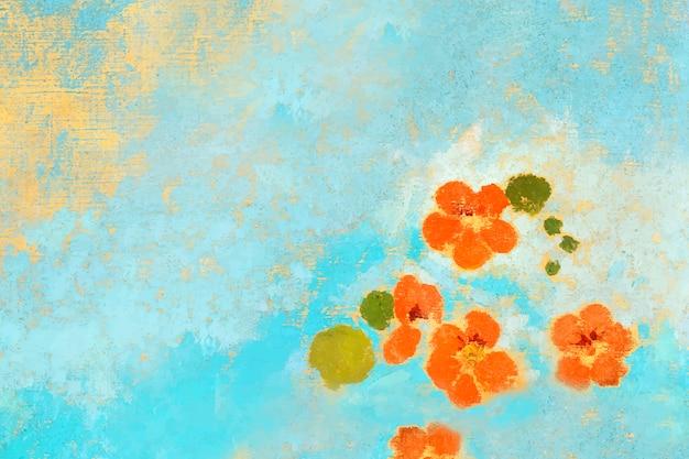 オレンジ色の油絵の花
