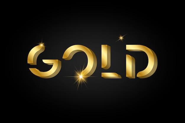 ゴールドの光沢のあるメタリックタイポグラフィ