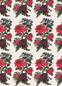 Красный цветочный узор