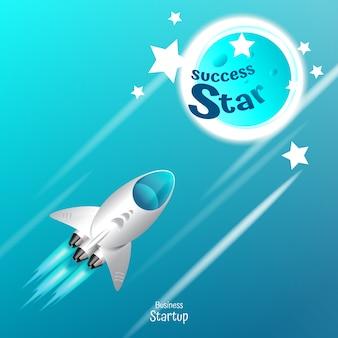Ракетка пространство перейти к успеху концепции фон вектор
