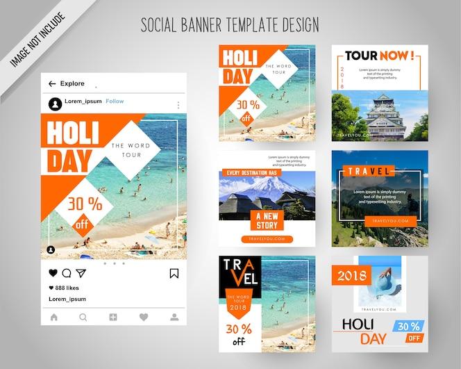 デジタルマーケティングのためのソーシャルメディアバナーの旅行