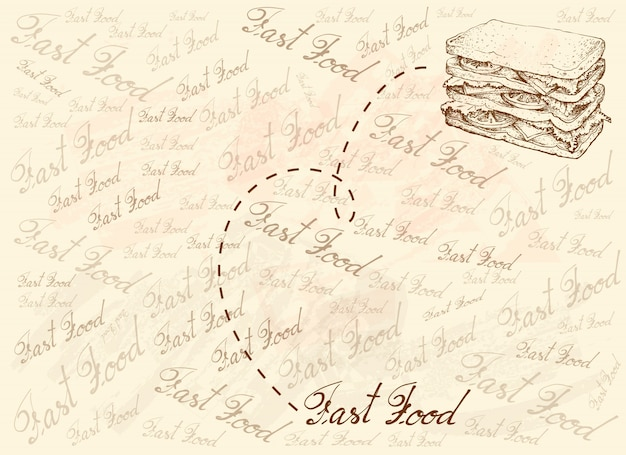 新鮮な自家製サンドイッチの手描きの背景