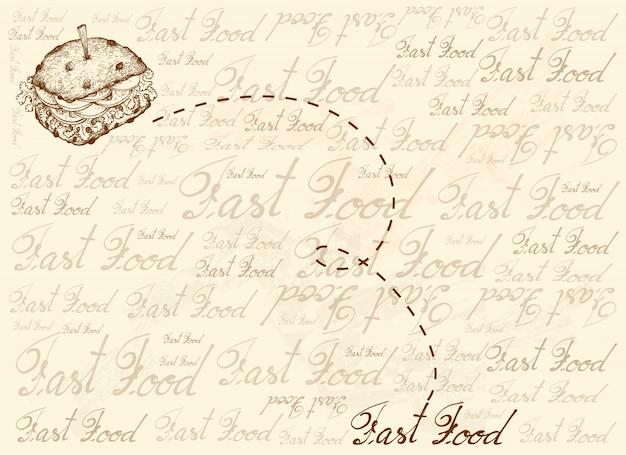 全粒パンのサンドイッチの手描きの背景