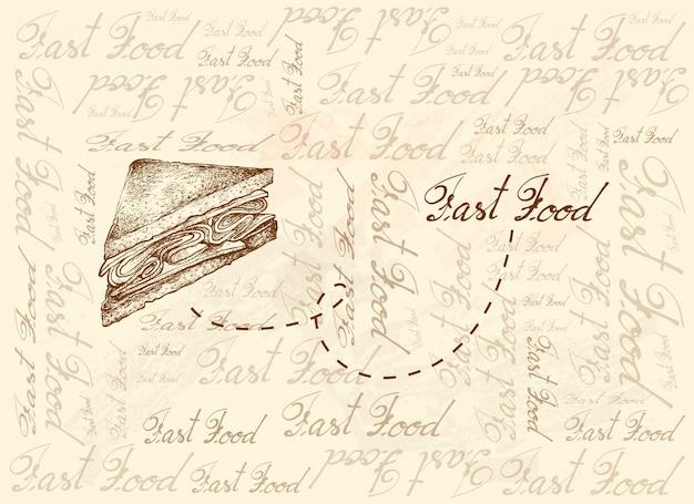 クラブサンドイッチまたはクラブハウスサンドイッチの手描きの背景