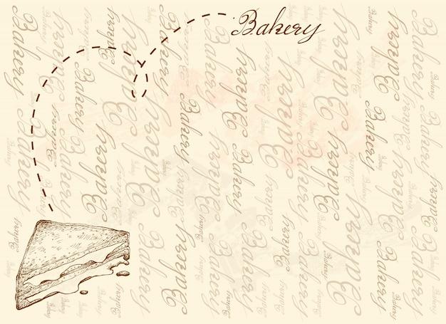 焼きチーズサンドイッチの手描きの背景