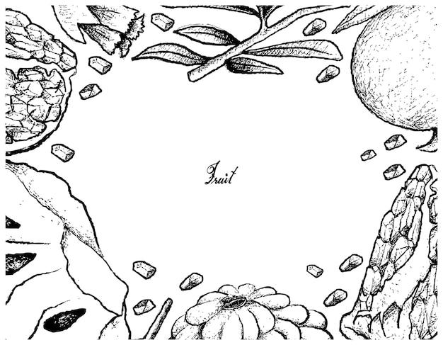 熟したカスタードアップルとザクロの手描きのフレーム