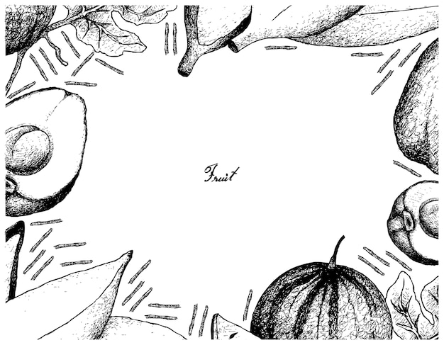 白い背景の新鮮な果物の手描きのフレーム