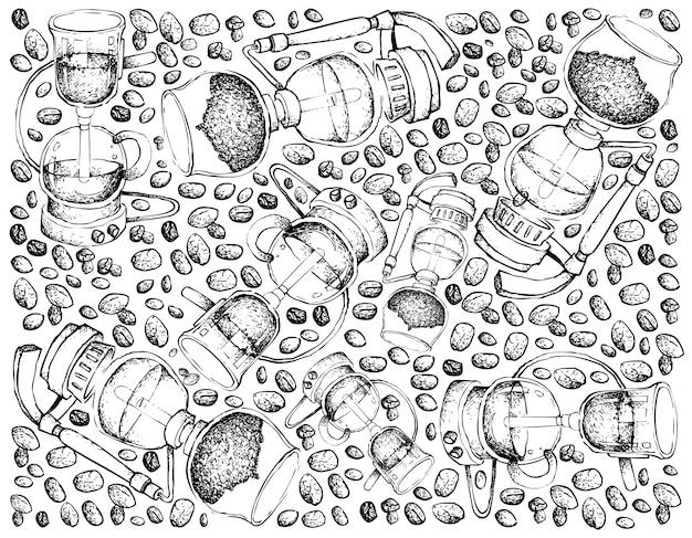 サイフォンコーヒーメーカーの手描きの背景