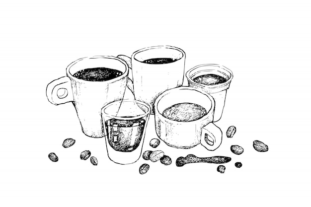 様々なホットコーヒーの手描きのスケッチ