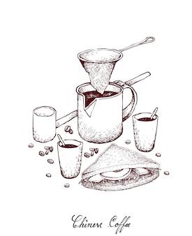 クラブハウスサンドイッチと中国のコーヒーの手描き