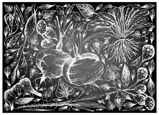 Ручная работа корнеплодов и клубничных овощей на доске