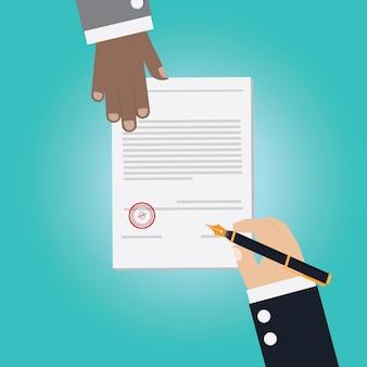 契約書に署名のための取り引きを作るビジネスマン手のベクトル