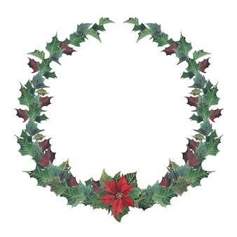 水彩クリスマス花輪