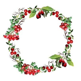 枝や果実の花輪。