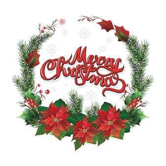 赤いポインセチアと葉のクリスマスの花輪