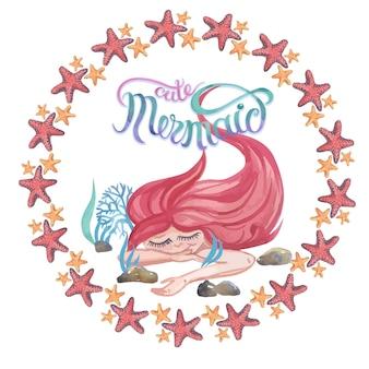 かわいい人魚の海の星とサンゴの水彩画。フレームイラストセット