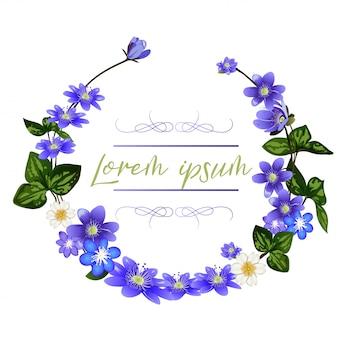 Венок из цветов шилла. весенние цветы шаблон поздравительной открытки.
