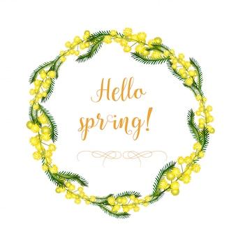 ミモザの花と葉の装飾的な花輪と花輪の要素は別々に。