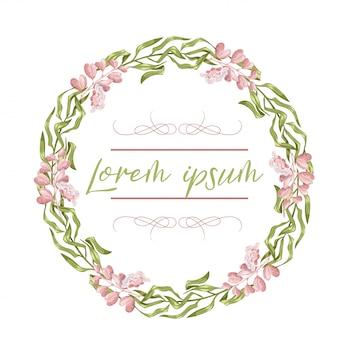 花輪、花のフレーム、水彩画の花、牡丹とバラ、イラスト手描き。白い背景に分離されました。