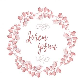ピンクの花の花輪。丸いロマンチックな花のフレームとレタリングハッピー結婚式の日
