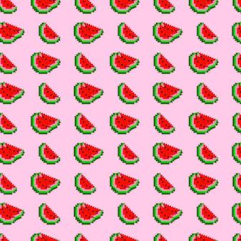 ピクセルスイカスライスベクトルシームレスパターンの背景。
