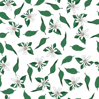 花と葉のシームレスなベクトルパターン