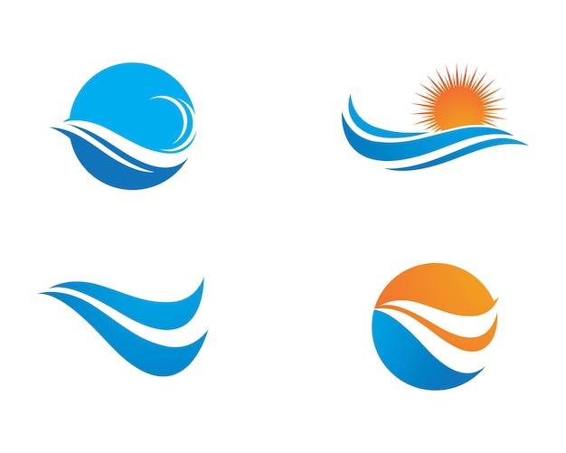 Символ водной волны и значок логотип шаблон