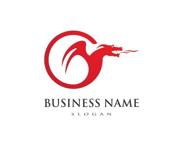 Шаблон логотипа с плоскими цветами дракона