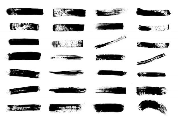 グランジ手描きペイントブラシストライプ。ベクトル黒インク背景高詳細。