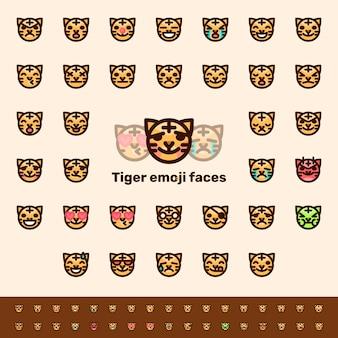 色の虎顔文字顔