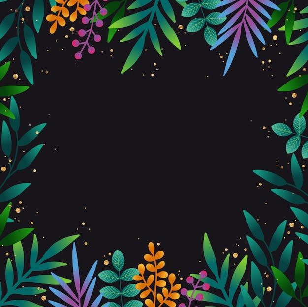 手の夜明けの熱帯の葉の背景