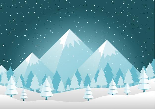 Рождественские горы, сосны и холмы пейзаж фон векторная иллюстрация