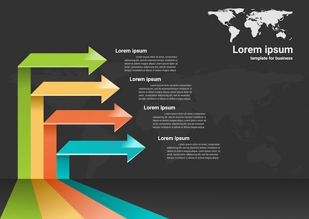 成功へのビジネスステップインフォグラフィックデータ