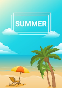 夏のビーチパラソルと椅子の背景