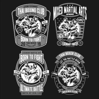 Тайский боксер дизайн иллюстрации