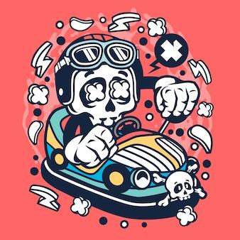 車のおもちゃの頭蓋骨の漫画