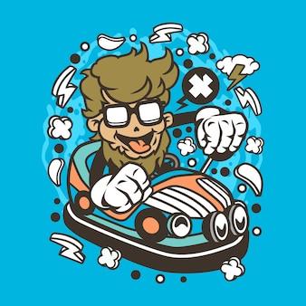 ヒップスター車のおもちゃ漫画