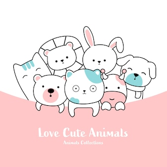 かわいい動物手描きのスタイル
