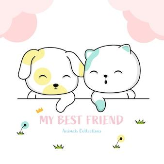 かわいい猫と犬の動物手描きのスタイル