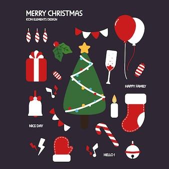 クリスマスアイコン要素手描きのスタイル