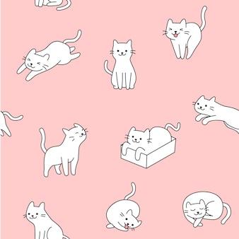 かわいい白い猫模様のイラスト